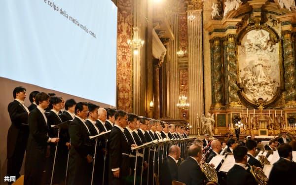 21日、ローマの聖イグナチオ教会で開かれたコンサート=共同