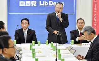 自民党税調総会であいさつする宮沢洋一会長(22日午後、党本部)