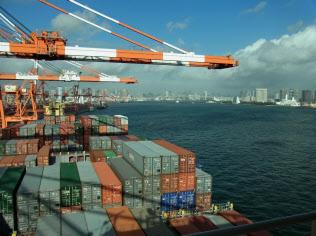 荷動きの伸びと反比例するように運賃は軟調だ(東京港のコンテナターミナル)