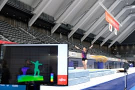 選手の動きをセンサーから取得して3次元データにする(全日本体操団体選手権の公式練習)