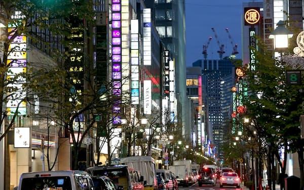 企業の交際費支出を税制で支える(東京・銀座)