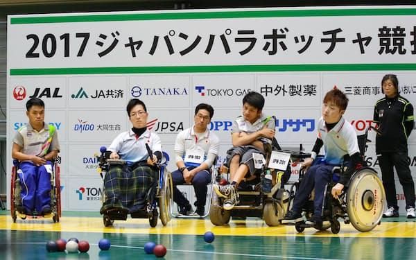 ボッチャの国際大会で日本代表とタイ代表の試合が行われた(18日、東京都武蔵野市)