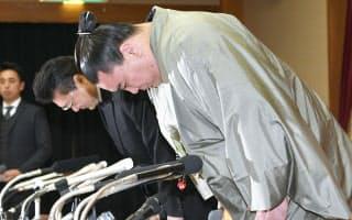 引退記者会見で謝罪する日馬富士(17年11月29日)