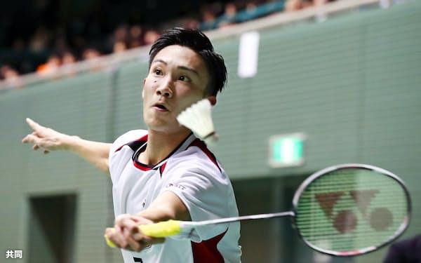 男子シングルスで2回戦進出を決めた桃田賢斗(29日、駒沢体育館)=共同