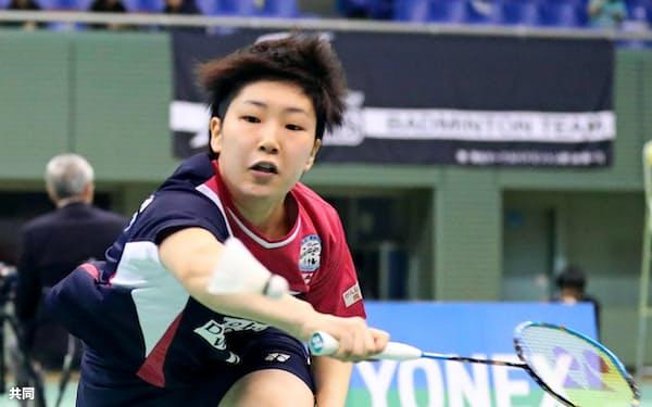 女子シングルスで準々決勝進出を決めた山口茜(30日、駒沢体育館)=共同