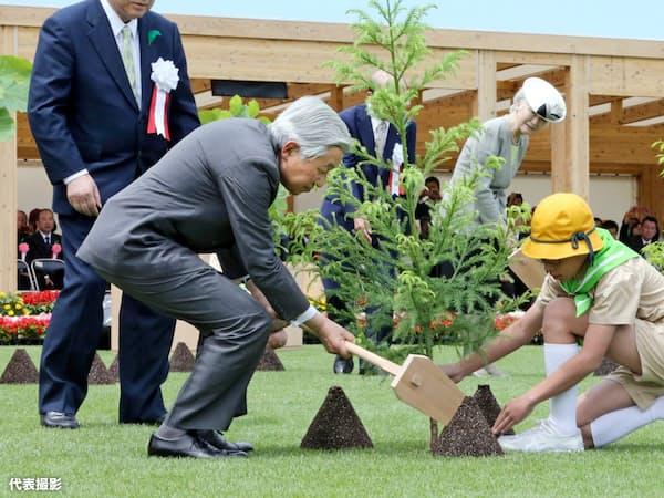 全国植樹祭で苗木を植えられる天皇、皇后両陛下(5月、富山県魚津市)