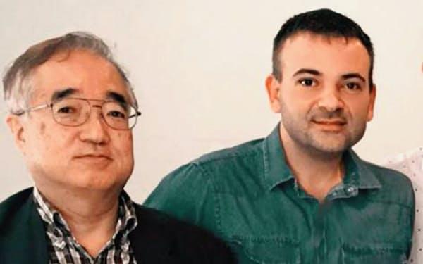 介護現場での人工知能(AI)活用に取り組むシーディーアイの岡本茂雄CEO(左)とAI研究者のグイド・プジオル氏