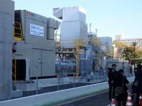 水素による電気と熱を市街地に供給する実証施設が完成した(10日、神戸・ポートアイランド)