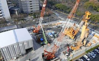 リニア中央新幹線の非常口新設工事現場(名古屋市)=共同