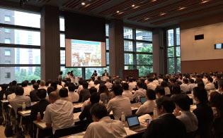 三井住友銀が始めた新しい金融システムの説明会には多くの自治体関係者が集まった