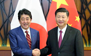11月、会談を前に握手する中国の習近平国家主席(右)と安倍首相(ベトナム・ダナン)=共同