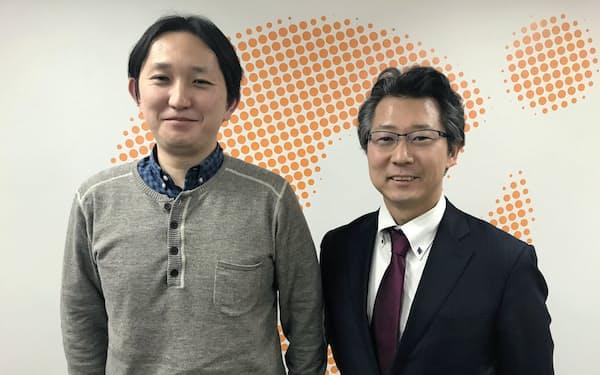 マネーフォワードで新事業を担当する神田潤一執行役員(右)と中出匠哉執行役員