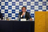 アサヒビールの平野伸一社長は2018年を「ビール市場の改革元年にする」と強調した