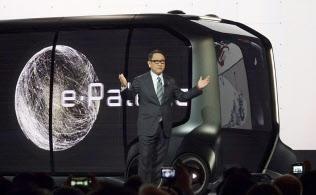CES会場で講演するトヨタ自動車の豊田章男社長