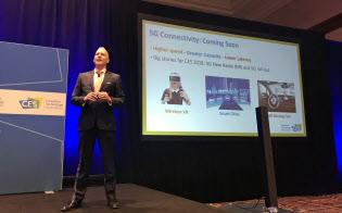5Gの可能性について語る全米民生技術協会(CTA)のシニアディレクター、スティーブ・コーニグ氏(7日、米ラスベガス)