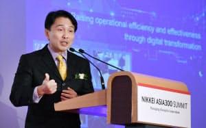 講演するSTエンジニアリングのヴィンセント・チョン社長兼CEO(18日午前、シンガポール)=柏原敬樹撮影