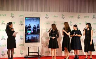 乃木坂46が出演する映画「あさひなぐ」のメンバーも縦型動画を配信する(2017年12月21日、LINEライブのイベント)