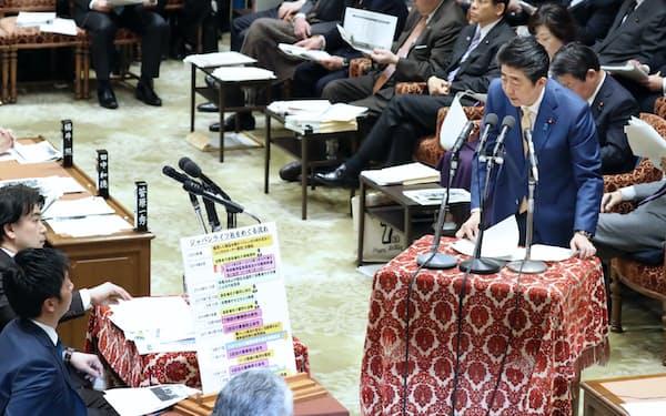 衆院予算委で答弁する安倍首相(30日午前)