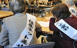 住基ネット訴訟で記者会見する原告(2008年、東京都千代田区)
