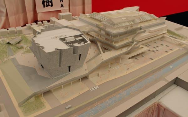 「ところざわサクラタウン」の模型。印刷工場やオフィスなどを整備する