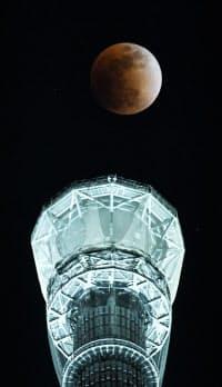 皆既月食で赤銅色となった月とライトアップされた東京スカイツリー(31日夜、東京都墨田区)