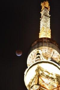 東京タワーの背後に観測された皆既月食(31日夜、東京都港区)