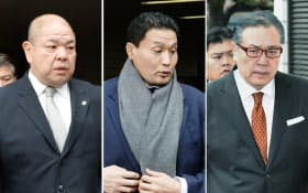 日本相撲協会の理事候補選に向かう(左から)理事長の八角親方、貴乃花親方、阿武松親方(2日午後、東京・両国国技館)