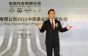 中国における中期経営計画を発表する日産自動車と東風汽車集団の合弁会社の関潤総裁