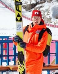 スキー・ジャンプ男子ノーマルヒルの初練習に参加した小林潤志郎(7日、平昌)=共同