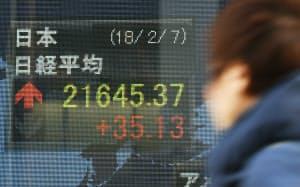 2万1600円台で終えた日経平均株価(7日午後、東京・八重洲)