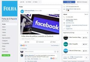 フォーリャ紙がフェイスブック上で公開した、配信中止を知らせる記事(フェイスブックから)