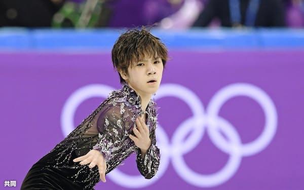 フィギュアスケート団体男子SP 演技する宇野昌磨(9日、江陵)=共同