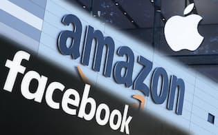 アマゾン、フェイスブック、アップルのロゴ