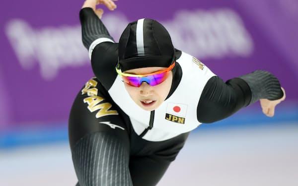 女子5000メートルで滑走する押切(16日、江陵)=上間孝司撮影