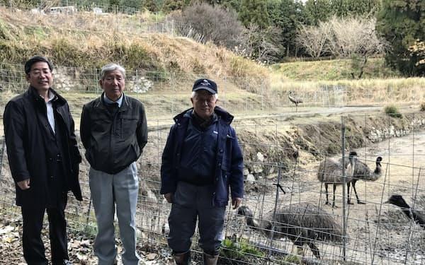 高さ2メートルほどの柵(写真(右))があれば飼育できる(佐賀県基山町のきやまファーム)