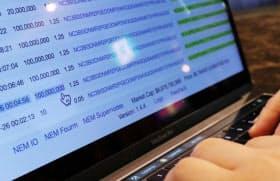 NEM取引の履歴はインターネット上で公開されている(5日、東京都港区)