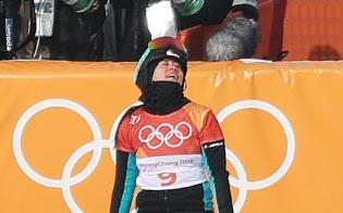 準々決勝での滑走を終えた竹内選手(24日、平昌)=山本博文撮影