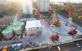 リニア中央新幹線「名城非常口」の工事現場(名古屋市中区)