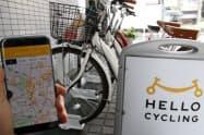スマホのアプリから自転車を探して利用できる(8日、都内のHELLO CYCLINGの駐輪場)