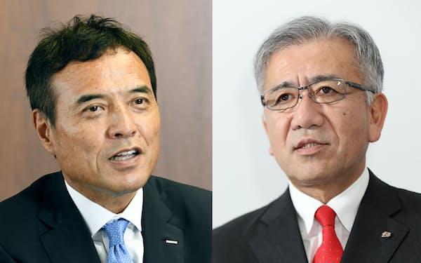 セブン&アイ・ホールディングスの井阪隆一社長(右)とサントリーホールディングスの新浪剛史社長