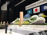 岩手県・宮古市合同追悼式で式辞を読み上げる達増拓也知事(11日、宮古市)