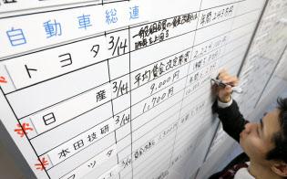 労使交渉の回答状況をボードに書き込む金属労協の職員(14日午後、東京都中央区)