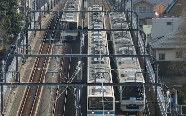 3月17日に複々線工事完成のダイヤ改正をした小田急電鉄(東京都世田谷区)
