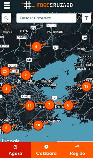 リオデジャネイロでは、銃撃戦の情報を収集するアプリが市民の間で広がっている(スマートフォンの画面)