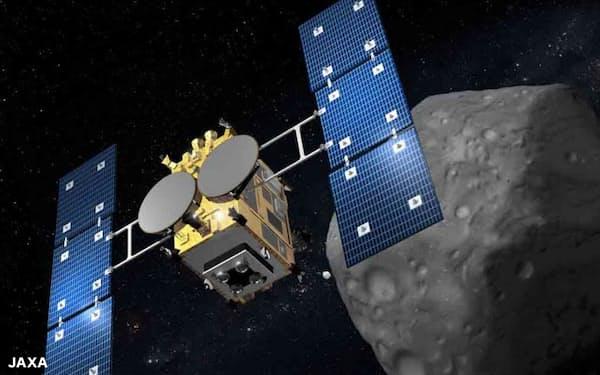 小惑星リュウグウに近づく探査機「はやぶさ2」(想像図)。高度な無人探査技術にも注目が集まる=JAXA、池下章裕氏提供