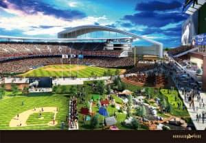 日本ハムグループが計画している新球場のイメージ図