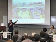 福山駅前再生ビジョンを説明する枝広直幹・広島県福山市長