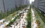 2037年までの完全歩道化を目指す(イメージ、御堂筋完成80周年記念事業推進委員会提供)
