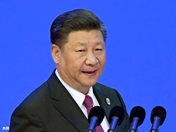 10日、「博鰲アジアフォーラム」年次総会の式典で、演説に臨む中国の習近平国家主席=共同