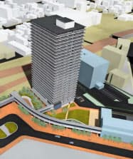 苗穂駅北口に建設予定の分譲マンション(イメージ、JR北海道提供)